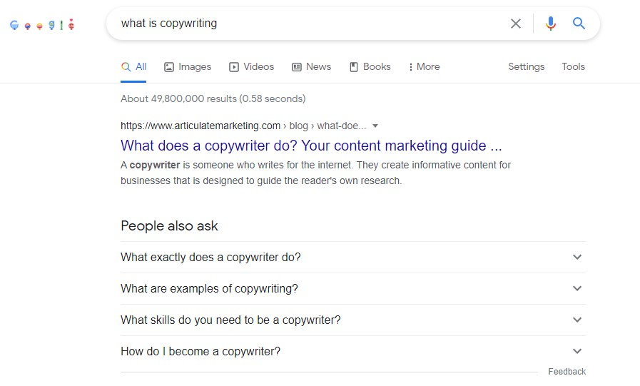 People also ask Google SEO terminology